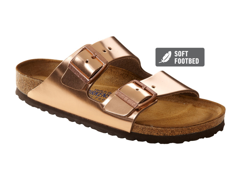 Arizona Birkenstock in Metallic Copper
